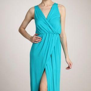 Chatoyant Teal Viscose Maxi Wrap Dress